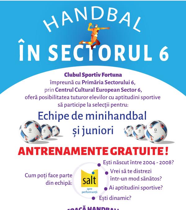 """""""Handbal în Sectorul 6 – SALT SPRE PERFORMANȚĂ"""", un proiect sportiv de clasă în Sectorul 6"""