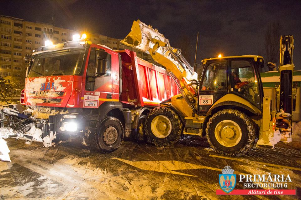 Peste 3000 tone de zăpadă, ridicate de echipele de intervenţie ale Primăriei Sectorului 6