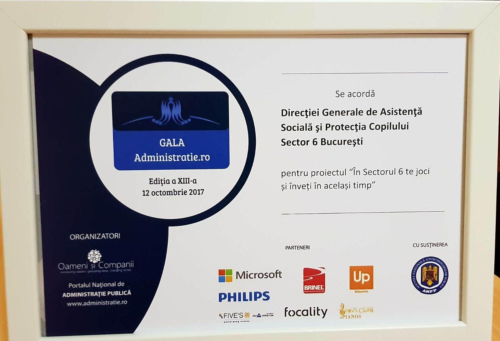 Premiu Directia Generala de Asistenta Sociala si Protectia Copilului Sector 6 Bucuresti - Gala Administrație.ro