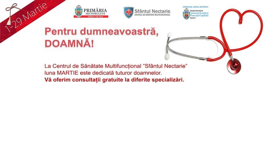 În Sectorul 6, în luna martie, doamnele și domnișoarele beneficiază de consultaţii medicale gratuite