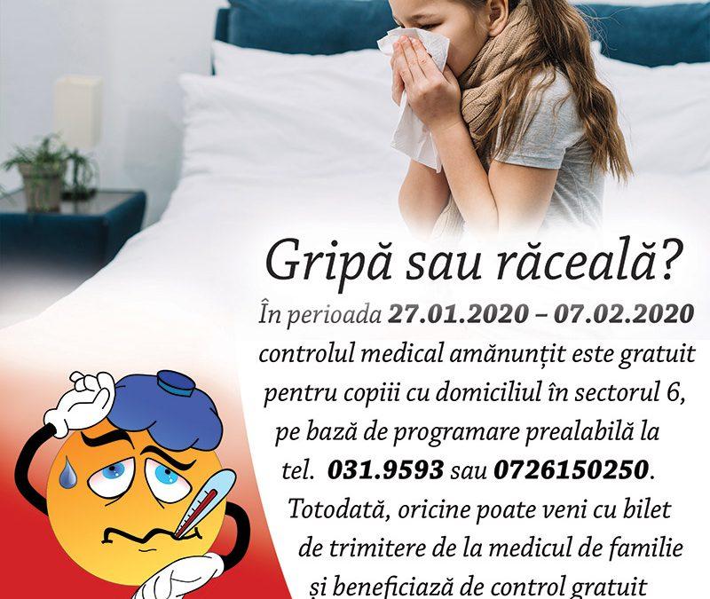 Gripă sau răceală? Campanie adresată părinților din Sectorul 6