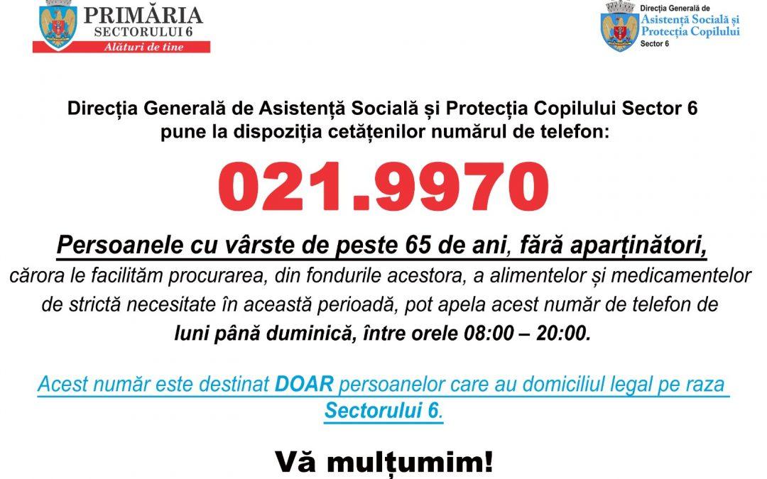 021.9970 – Număr de telefon de urgenţă, dedicat exclusiv persoanelor în vârstă din Sectorul 6