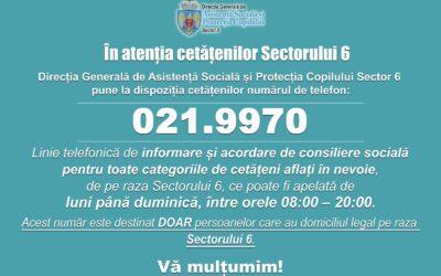 021.9970 – telefonul cetățenilor din Sectorul 6