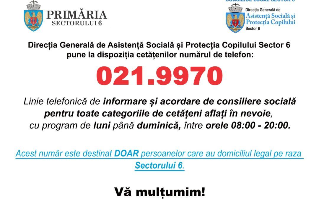 021.9970 – telefonul la care pot cere asistență vârstnicii din Sectorul 6