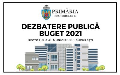 Dezbatere publică privind Bugetul consolidat de venituri și cheltuieli al Sectorului 6 al Municipiului București pe anul 2021