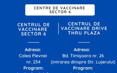 Vaccinarea continuă în Sectorul 6!
